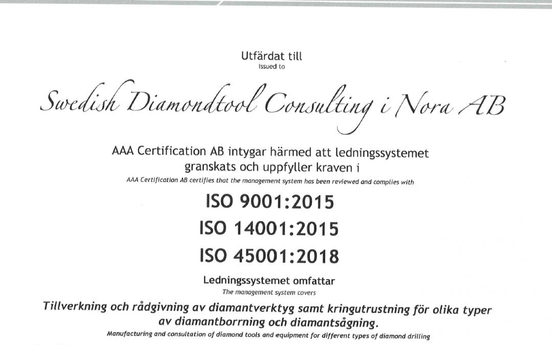 I augusti blev vi ISO-certifierade